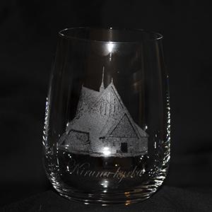 Kiruna kyrka på whiskeyglas