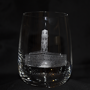 Kiruna stadshus på whiskyglas